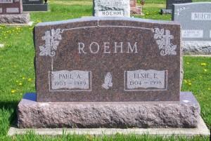 Paul A. & Elsie E. (Scaer) Roehm, Zion Lutheran Cemetery, Schumm, Van Wert County, Ohio. (2012 photo by Karen)