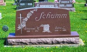 Emanuel and Edna (Scaer) Schumm, Zion Lutheran Cemetery, Schumm, Van Wert County, Ohio. (2012 photo by Karen).