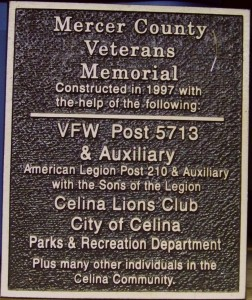 Mercer County Veterans Memorial, 1997. (2014 photo by Karen)