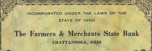Farmers & Merchants State Bank, Chattanooga, Ohio, 1917.
