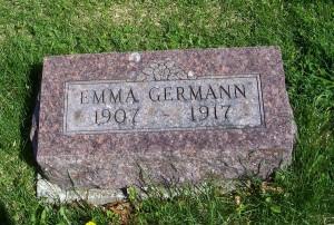 Emma Germann, Zion Lutheran Cemetery, Schumm, Van Wert County, Ohio. (2012 photo by Karen)