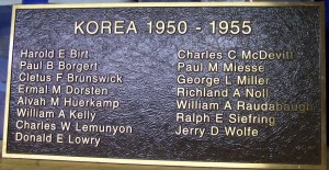 Korean Roll of Honor, Mercer County, Ohio. (2014 photo by Karen)