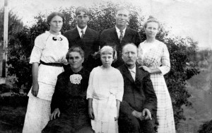 Fred Ruck Sr family, seated: Mary, Marie, Fred Sr; standing: Katie, Fred Jr, Frank, Lena. (photo courtesy of Joyce Layman)