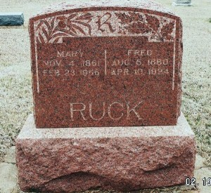 Fred & Mary Ruck, Zion Cemetery, Logan County, Oklahoma. (submitted photo)