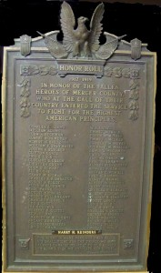 WWI Roll of Honor Plaque, Mercer County, Ohio. (2014 photo by Karen)
