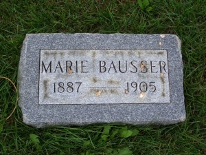 Marie Bausser, Zion Lutheran Cemetery, Mercer County, Ohio. (2012 photo by Karen)