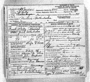 Pauline Bollenbacher's death certificate, FamilySearch.org.