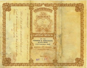 Five shares of Capital Stock of the Farmers & Merchants State Bank of Chattanooga, Ohio, issued to Carl Miller, dated 7 May 1917.