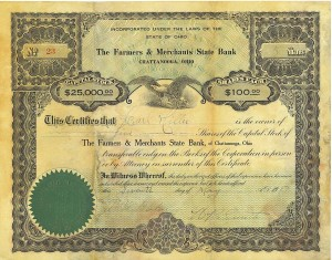Carl Miller stock certificate, five shares of Farmers & Merchants State Bank of Chattanooga, Ohio, dated 7 May 1917.