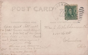 1908 postcard written by Jeanetta (Bury) Schumm.