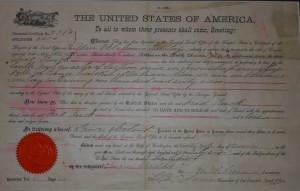 Fred Ruck Homestead Cert. No. 2384, Oklahoma Territory, 1896. (courtesy of Joyce Layman)