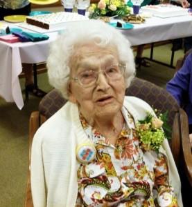 Velma Schumm, 100th Birthday Celebration, 14 June 2014. (2014 photo by Karen)