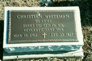 Christian Whiteman, Reber Hill Cemetery, Pickaway County, Ohio. (2002 photo by Karen)
