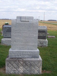 Michael & Elisabeth Kuhm, Zion Lutheran Cemetery, Chattanooga, Mercer County, Ohio. (2012 photo by Karen)