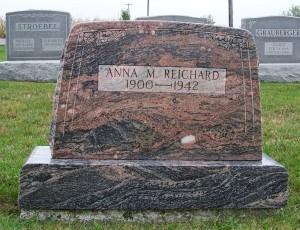 Anna M. (Grauberger) Reichard, Zion Lutheran Cemetery, Chattanooga, Mercer County, Ohio. (2011 photo by Karen)