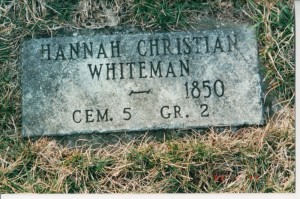Hannah (Huey) Whiteman, Cheshire Cemetery, Delaware County, Ohio. (2002 photo by Karen)
