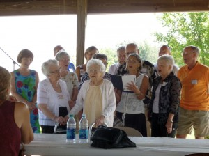 The Schumm Singers, with Velma, 100, conclude the reunion with song. (2014 photo by Karen)