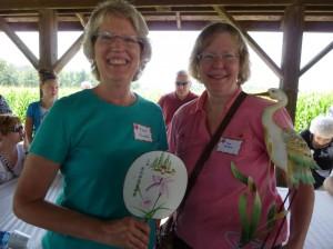 Sisters Karen Pautsch & Sue Hooper, win prizes for first-time attendance. (2014 photo by Karen)