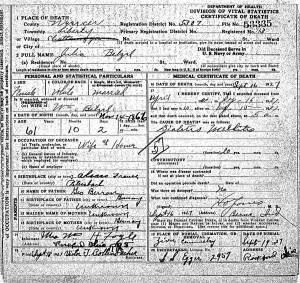 Julia (Berron) Kuhm Betzel death certificate.