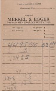 Merkel & Egger receipt from their general store in Chattanooga.