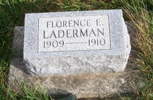 Florence E. Laderman, Zion Lutheran Cemetery, Chattanooga, Mercer County, Ohio. (2011 photo by Karen)