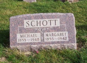 Michael & Margaret Schott, Zion Lutheran Cemetery, Chattanooga, Mercer County, Ohio. (2011 photo by Karen)