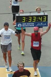 Jeff finishes the Boston Marathon in 2009.