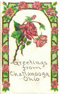 Chattanooga, Ohio, postcard, from Maggie to Julia Laderman, c1913.