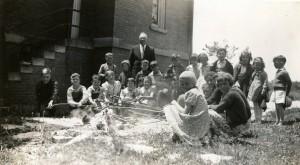 Hotdog roast at Schumm Parochial School, with Rev. Moeller. Unknown date.