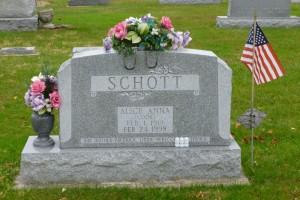 Alice Anna (Cook) Schott, Decatur Cemetery, Adams County, Indiana. (2014 photo by Karen)