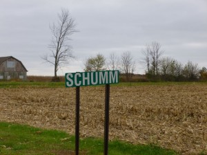 Schumm, Ohio. The area in the background is near the location of the brick building. (2014 photo by Karen)