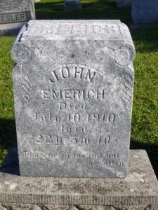 John Emerich, Kessler/Liberty Cemetery, Mercer County, Ohio. (2014 photo by Karen)