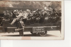 Chris Miller, standing on the right in back. Pacific Sightseeing Co, San Francisco, unknown date.