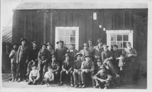 Oil workers. Chris Miller, back, second from end. Unknown date or place.