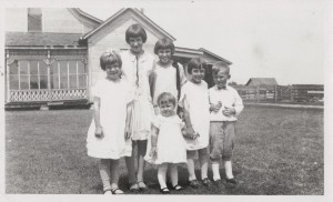 Ruth, Velma, Kate, Betty, Amos Jr (Jack), and Helen in front.