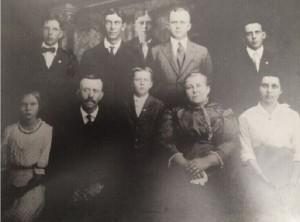 Fred Heffner family. Front: Marguerite, Fredrick, Vernon, Anna, Emma. Back: Roman, Rudolph, Herbert, Albert, Oscar.