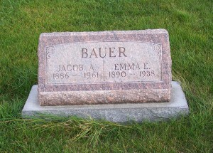 Jacob A. & Emma E. (Heffner) Bauer, Zion Lutheran Cemetery, Chattanooga, Mercer County, Ohio. (2011 photo by Karen)