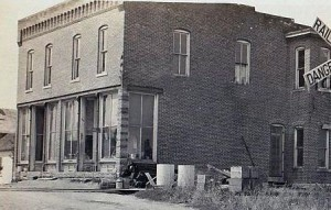 Brick building that once stood by the railroad tracks in Schumm, Ohio.