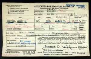 Application for Headstone or Marker, Albert C. Heffner.