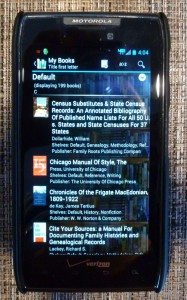 Book list with thumbnail covers on Book Catalogue.