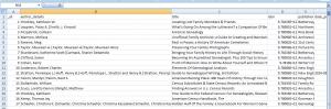 Book list as csv spreadsheet, as seen on PC, Book Catalogue.