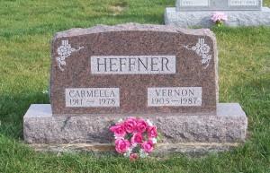 Vernon & Carmella (Bury) Heffner, Zion Lutheran Cemetery, Chattanooga, Mercer County, Ohio. (2011 photo by Karen)
