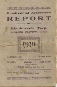 Quadrennial Assessor's Report of Blackcreek Twp., Mercer County, Ohio, 1910.
