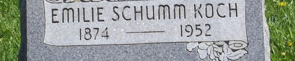 Emilie (Schumm) Koch, Zion Lutheran Cemetery, Schumm, Van Wert County, Ohio. (2012 photo by Karen)