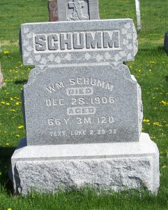 William Schumm, Zion Lutheran Cemetery, Van Wert County, Ohio. (2012 photo by Karen)