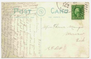 Chattanooga, Ohio, postcard postmarked 1914, from Bertha to her cousin Theresa.
