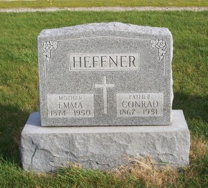 Conrad & Emma Heffner, Zion Lutheran Cemetery, Chattanoota, Mercer County, Ohio. (2011 photo by Karen)