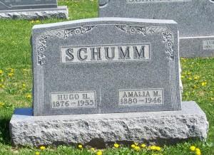Hugo H. & Amalia M. (Schumm) Schumm, Zion Lutheran Cemetery, Schumm, Van Wert County, Ohio. (2012 photo by Karen)