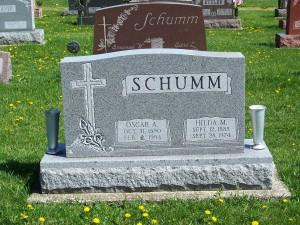 Oscar A. & Hilda M. (Schumm) Schumm, Zion Lutheran Cemetery, Van Wert County, Ohio. (2012 photo by Karen)