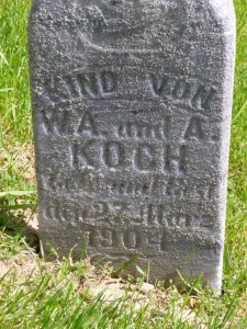 Child of W.A. & A. Koch, St. John's Cemetery, Auglaize County, Ohio. (2015 photo by Karen)
